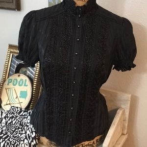 Victorian Style Lace Button Front Black Top BEBE!